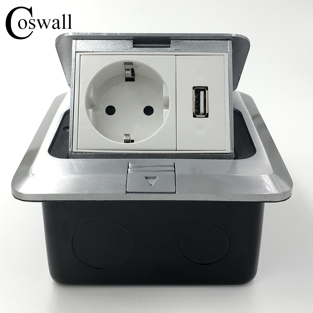 All Aluminum Silver Panel EU Standard Pop Up Floor Socket Electrical Outlet...