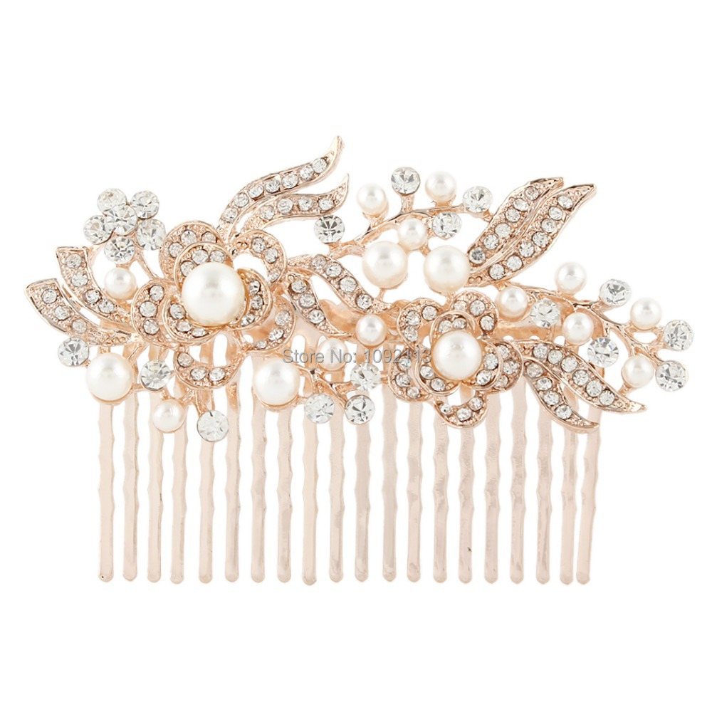 Rose gold wedding hair accessories - Bella Gold Rose Gold Tone Bridal Hair Jewelry Flower Ivory Simulated Pearl Hair Comb Austrian