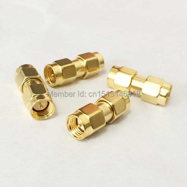 1pc SMA Male Plug To Male Plug   RF Coax Adapter Convertor  Straight   Goldplated NEW Wholesale