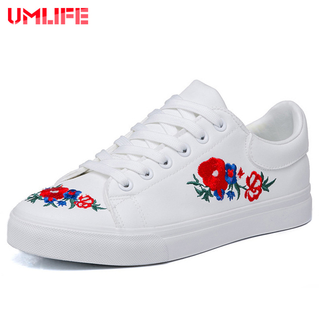 Old fashioned white shoes with flowers motif best evening gown umlife womens lightweight sneakers breathable embroidery flowers mightylinksfo