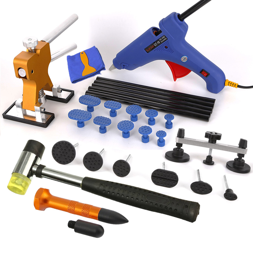 WHDZ PDR Tools Paintless Dent Repair Kits Straightening Dents Pulling Bridge Dent Lifter with 10pcs Tabs