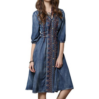 Woman Denim Dresses Elegant Vintage Floral Embroidery Cowboy Casual Feminino Ladies Loose Shirt Dress Jeans
