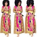 2016 Mulheres Africanas Bazin Riche Bordado Elefante Mangas de Algodão Materia Com Contas/Gele Kaftan Senhora Vestido Longo