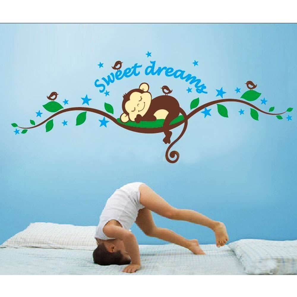 Sleeping Monkey Removable Wall Mural Decals Stickers - Adhesive Wall Decal Sticker for Bedroom Living Kids Rooms Decor DIY