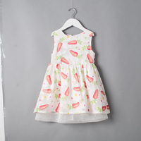 Kids O Neck Collar Dress Children Summer Princess Wholesale Baby Boutique Carrot Print Clothing Girls Polka