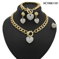 Yulaili New Nigerian Wedding Bridal African Gold Color Jewelry Sets Dubai Heart Shape Crystal Necklace Bracelet Earrings Ring