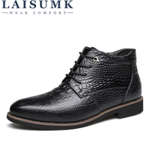 LAISUMK Luxury Brand Men Winter Boots Warm Thicken Fur Mens Ankle Fashion Male Business Office Formal Leather Shoes