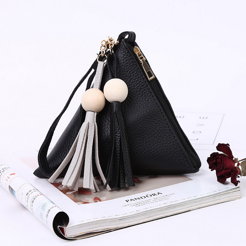 NIBESSER Stylish Women Triangle Handbags Tassel Balls Lady Clutches Fashion Purse Night Party Banquet Female Minimalist Wallet