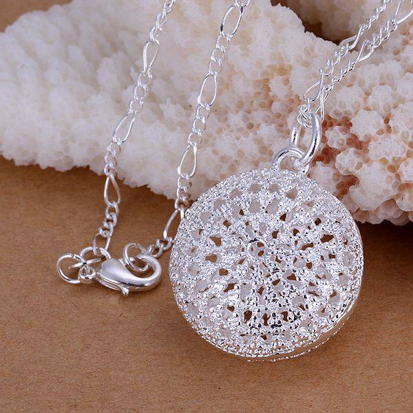 silver plated fashion jewelry pendant Necklace, 925 jewelry silver plated necklace Round package Pendant necklace ohvy merp