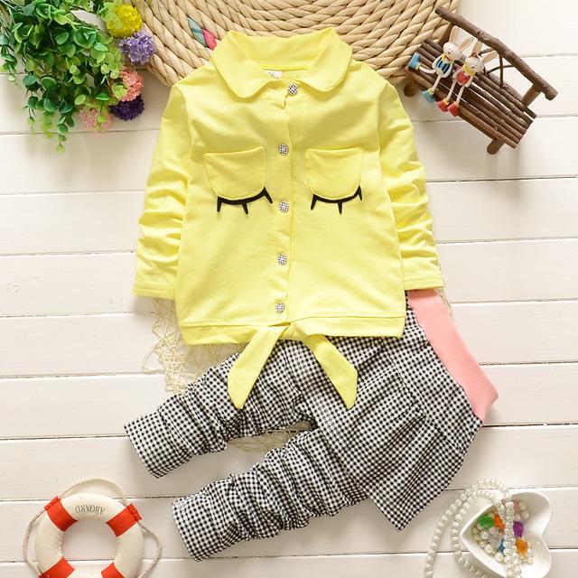 2016 new Baby meninas define vestuário moda primavera / outono 2 pcs terno xadrez bebê dos desenhos animados meninas bonito roupas define camisa + calças
