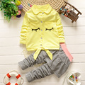 2016 new baby girls Clothing Sets Fashion spring/Autumn 2pcs Suit plaid cartoon Baby Girls cute Clothing Sets Shirt +Pants
