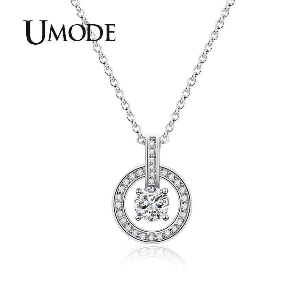 UMODE 2019 nowy cyrkon Hollow okrągły wisiorek naszyjniki dla kobiet betonowa CZ kryształ biały złoty naszyjnik Link łańcuchy biżuteria AUN0329