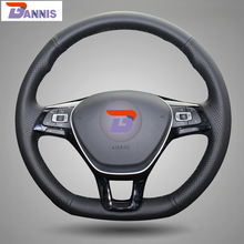 BANNIS Black Artificial Leather DIY Hand-stitched Steering Wheel Cover for Volkswagen VW Golf 7 Mk7 New Polo Jetta Passat B8