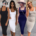 THYY Tank Sundress Black women Fleece Midi Bodycon Sexy Dress 2017 Square Collar Autumn Party Women's Dress Vestido de festa 216