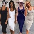 Thyy midi bodycon del tanque vestido de tirantes negro mujeres de lana sexy dress 2017 del collar del cuadrado de otoño dress vestido de festa del partido de las mujeres 216