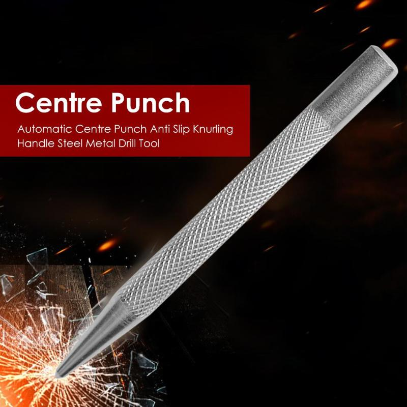Super Strong Automatic Center Punch Anti Slip Knurling Handle Steel Spring Loaded Loaded Metal Drill Marking Center Punch Tool
