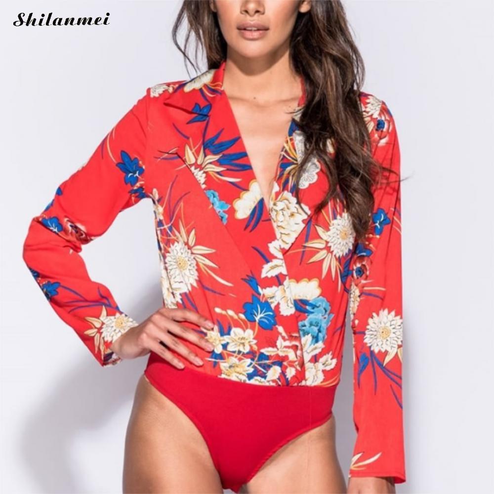 New Women Chic Floral Print Playsuits Elegant Long Sleeve Office Lady Wear Jumpsuits Slim Vintage Brand Rompers Salopette Femme