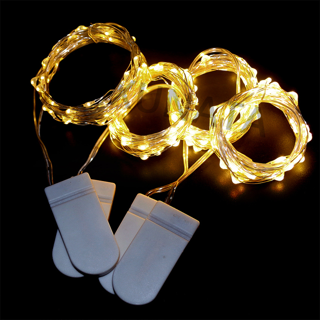 Cell Battery Powered 2M 20 Led 8Colors Silver Copper Wire Mini Fairy String Christmas Light Lamp For Holiday Wedding Party