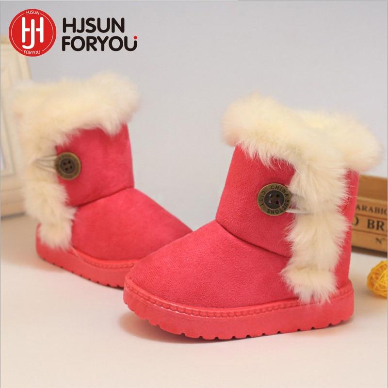2019 New Children Snow Boots Boy Girls Warm Winter Boots Fashion Baby Warm Rain Boots Plush Kids Shoes Size 21-35