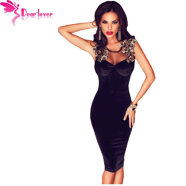 Dear-lover velvet dress vestidos de fiesta negro sin mangas parte posterior con cordones detalle floral midi dress bodycon vestidos túnicas 2016 lc61102