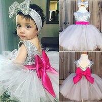 Toddler Kids Newborn Baby Girls Dresses Cute Bowknot Formal Girls Ball Gown Dress