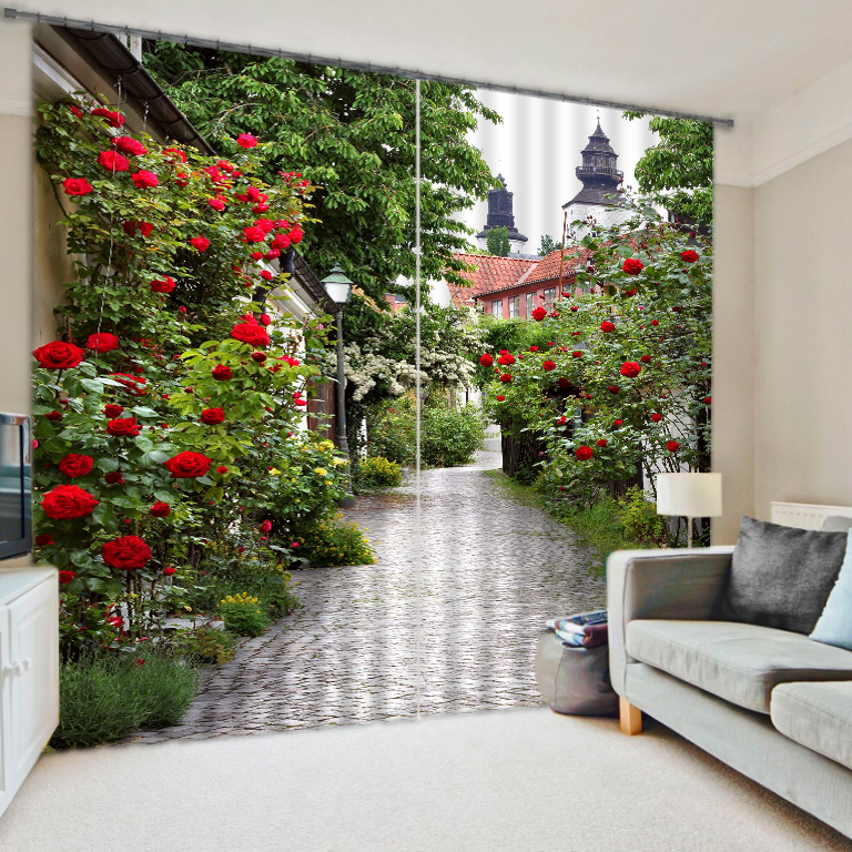 Winding Trail Flower Courtyard Window Curtains Decorative for Bedding Room Sharon Thick Soft Backout Shade Shround 3D Printing