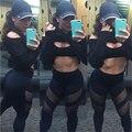 Mulheres calças leggings de malha sexy perspectiva oco out patchwork leggings para a menina treino de fitness senhoras calças quick dry 1087