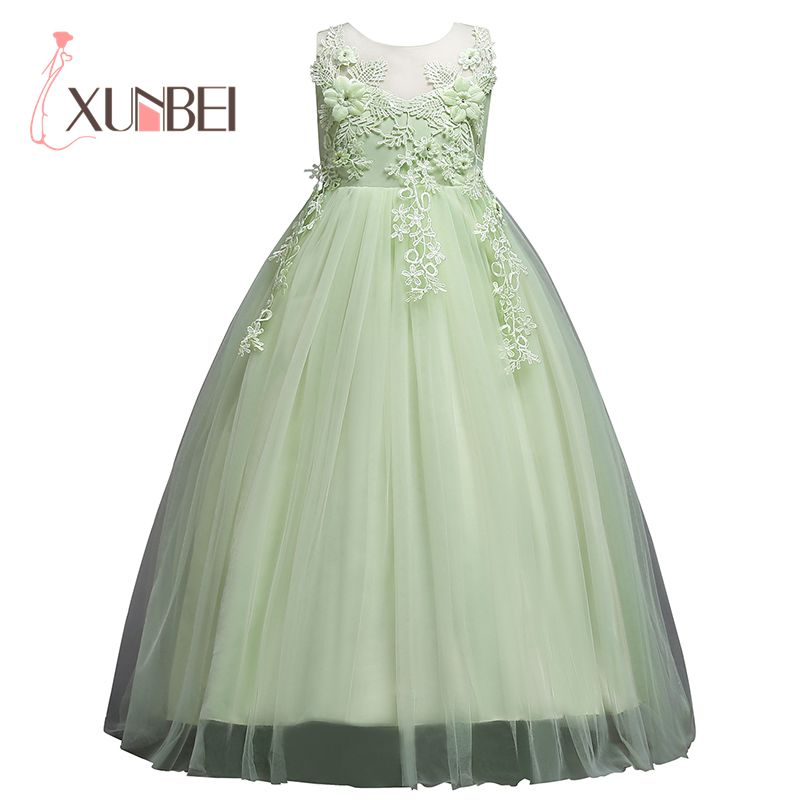 Floor Length Princess Flower Girl Dresses 2019 Applique Tulle Girls Pageant Dress First Communion Dresses Party Gown