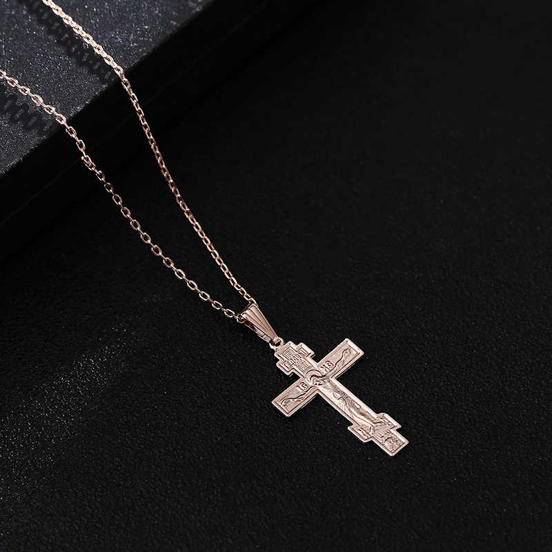 Shamty Rose Gold Color Orthodox Christianity Orthodox Church Eternal Church Cross Pendant Christian Jewelry Inspirational