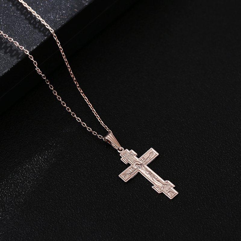 Shamty Rose Gold Color Orthodox Christianity Orthodox Church Gereja Kekal Cross Pendant Christian Jewelry Inspirational