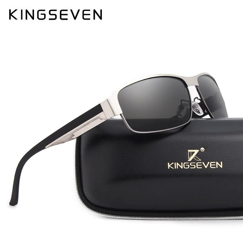 KINGSEVEN Uomini di DISEGNO di MARCA Occhiali Da Sole Polarizzati Occhiali Da Sole Lente A Specchio Classic Vintage Maschio Shades Oculos de sol UV400 N7359