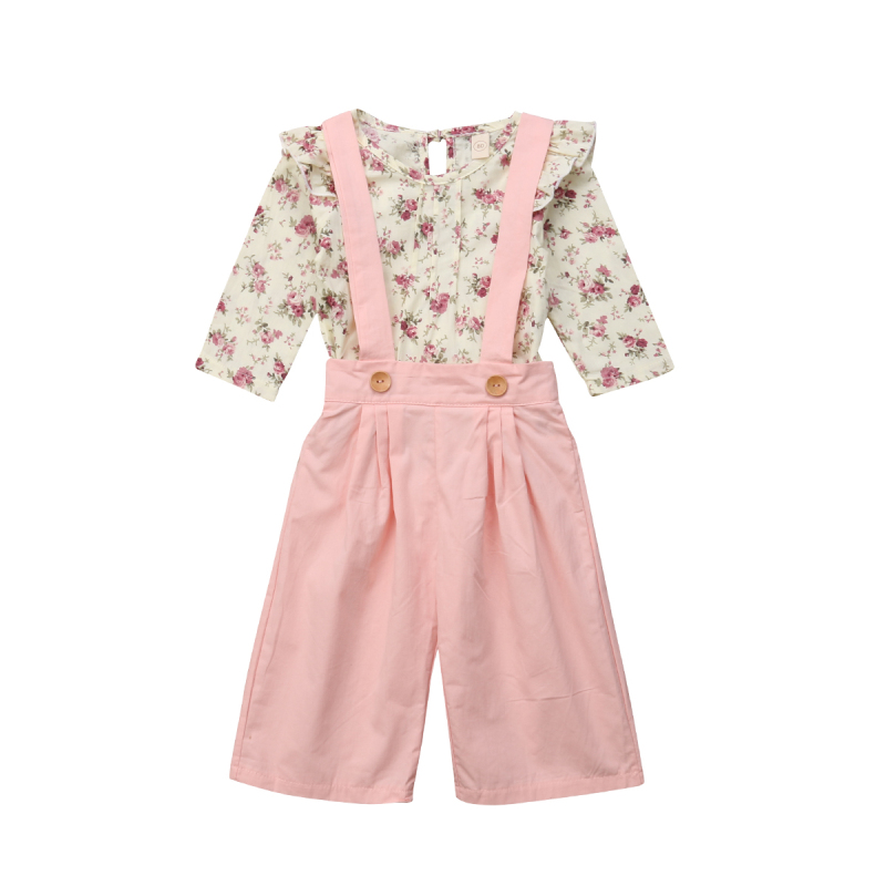 2PCS Toddler Kids Baby Girl Winter Clothes Floral Tops+Pants Overall Outfits sweet girl clothes set 12
