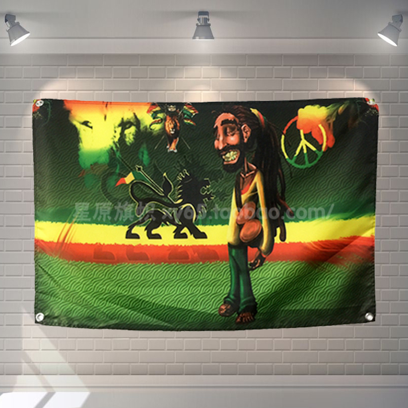 """""""bob Marley"""" Band Pop Segno Di Stoffa Bandiera Giamaica A Quattro Fori Hanging Dipinti Cafe Hotel Music Studio Decorazione Il Massimo Della Convenienza"""