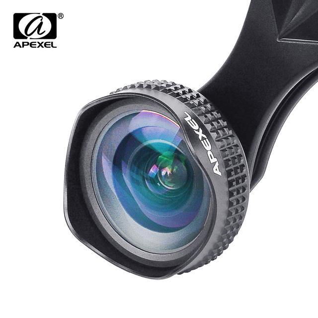 Apexel óptica pro lente de 18mm hd gran angular 0.63x más paisaje kit de lente de la cámara del teléfono celular para el iphone, samsung htc & smarphones 18