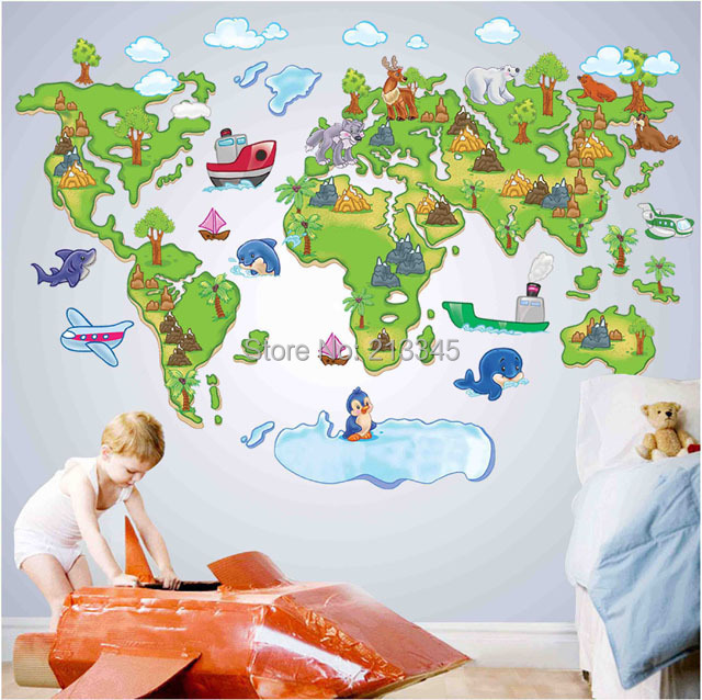 Fundecor Monopoly New Removable Cartoon Animal Park Map Wall - Wall map children's room