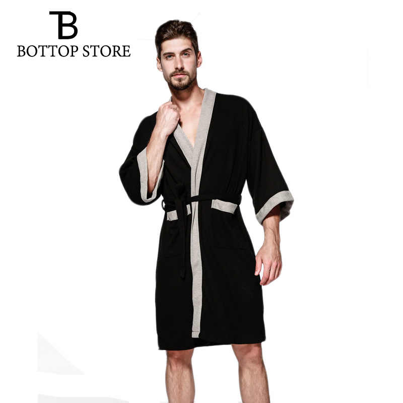 445c3eb8aa ... Men s Bathrobe Cotton Man Nightgown Waffle Male Robe Bathrobe Sauna Bath  Towel Robe Dressing Gowns Pajamas ...