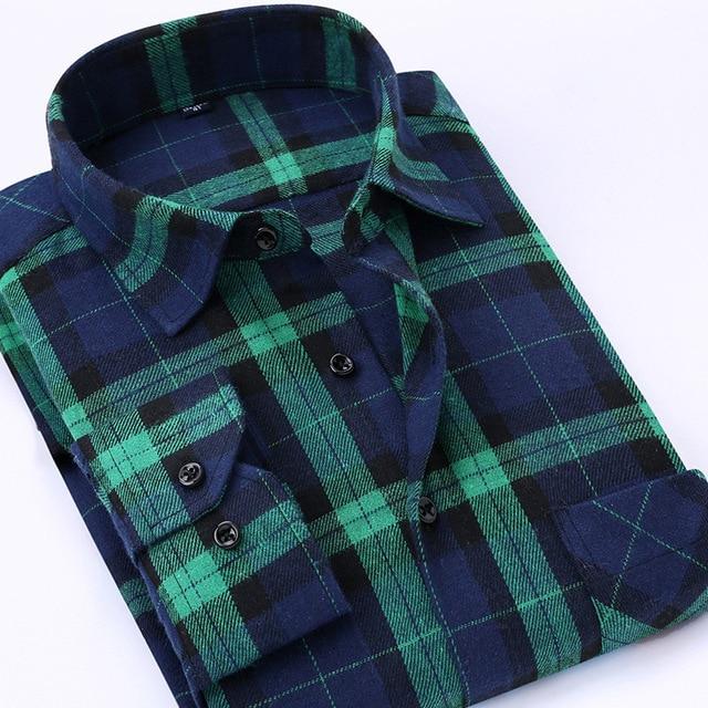 Casual Men Plaid Shirt Spring Autumn Flannel Shirt Men Dress Shirts Fashion Long Sleeve Slim Fit Chemise Homme Cotton Male Shirt 5
