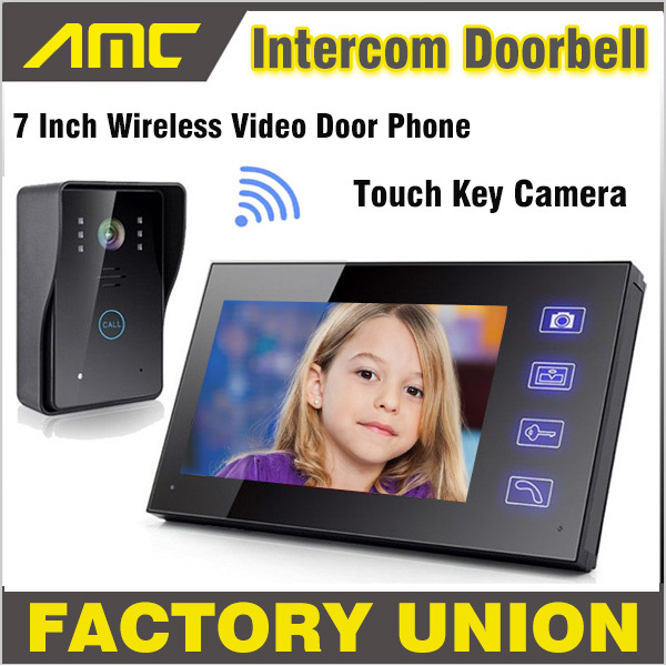7 Wireless Video Door Phone Doorbell Intercom with Touch Key Camera IR Rainproof home video intercom system Wholesale/Retails 1 camera 3 monitor wireless video door phone doorbell intercom with touch key camera ir rainproof home video intercom system 1v3