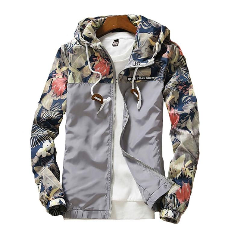 Women s Hooded Jackets 2019 Autumn Causal Flowers Windbreaker Women Basic Jackets Coats Zipper Lightweight Jackets