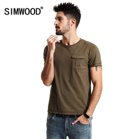SIMWOOD 2017 Spring Summer New Arrival T Shirts Men 100 Pure Cotton Pocket Short Sleeve Tees
