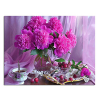 Flower Cherry Tea 50x38cm Full Drill Diamond Embroidery 3d Diamond Cross Stitch Fashion Diamond Mosaic Pictures