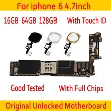 Фабрика разблокирована для iphone 6 материнская плата с Touch ID/без Touch ID, 100% оригинал для iphone 6 материнская плата 16 Гб 64 Гб 128 ГБ