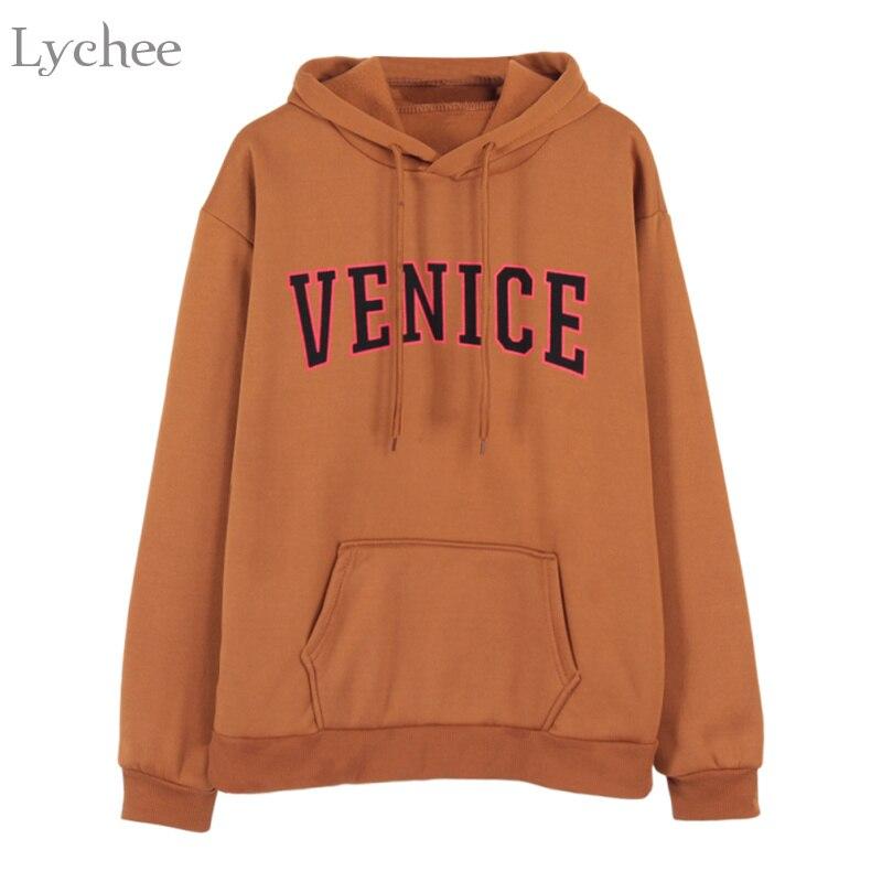 US $12.74 15% OFF Lychee Autumn Winter Women Hooded Sweatshirt Letter Print Long Sleeve Fleeces Hoodies Tracksuit With Pockets in Hoodies &
