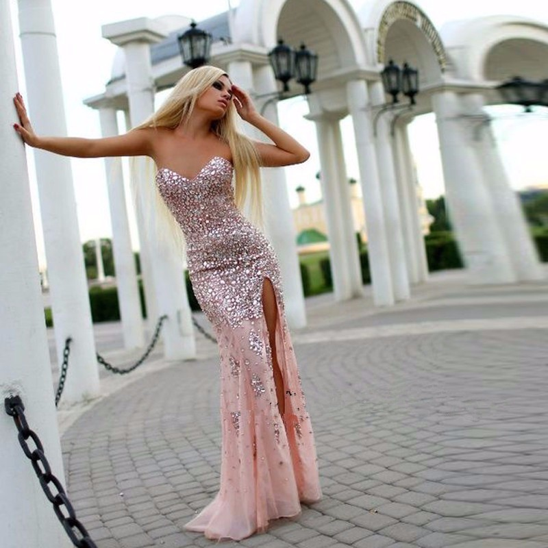 Luxury Crystal Stunning   Prom     Dresses   2018 Hot Sexy Side Split Pink Sweetheart Party Gowns Pageant   Dress   Robe De Soiree