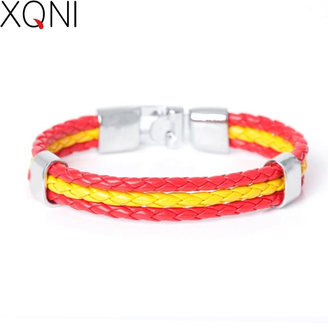 2017 New Fashion National Spain Flag ID Leather Bracelet Trendy Braided Surfer B