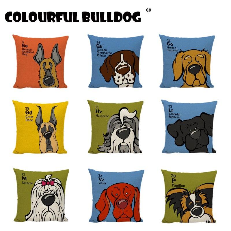 Lovely Dogs Cushion Covers Cartoon German Shepherd Dog Golden Retriever Bulldog Linen Cotton Home Sofa Decor Throw Pillow Cases