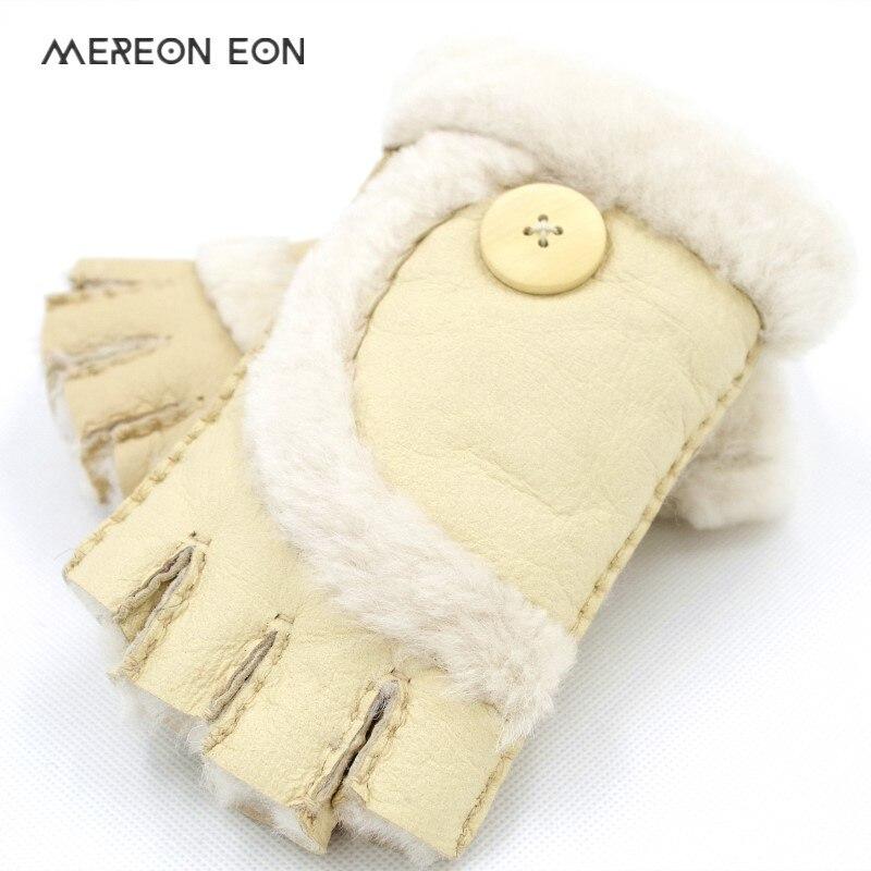 2019 Winter Women's Fingerless Gloves Indoor Office Warm Half Finger Leather Sheepskin Multicolor Gloves Women's Wrist Gloves