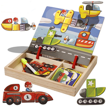 Wooden Magnetic Puzzle Toys 3D Figure/Animal/ Vehicle /Circus Drawing Board Learning Wood for Children Birthday Gift