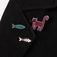 DIY Новые 3D значки ручной вышивки кошка/рыба/мышь вышивка металлическая проволока аппликация для пальто брюки брошь в виде мешочка