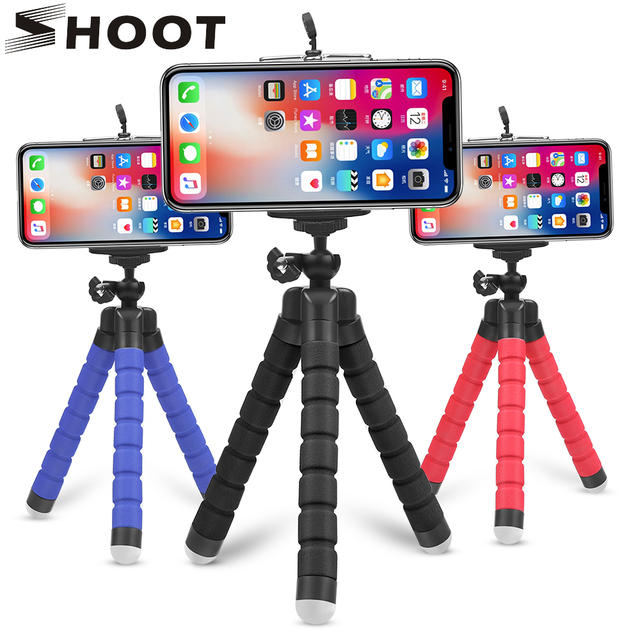 SHOOT Mini Octopus Tripod Stand Holder for Mobile Phone with Phone Clip Mount for Xiaomi 8 iphone X 7 Huawei GoPro Action Camera